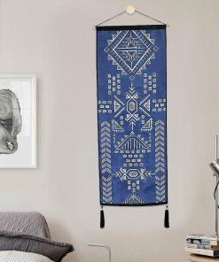 Lange blaue böhmische Wandbehänge